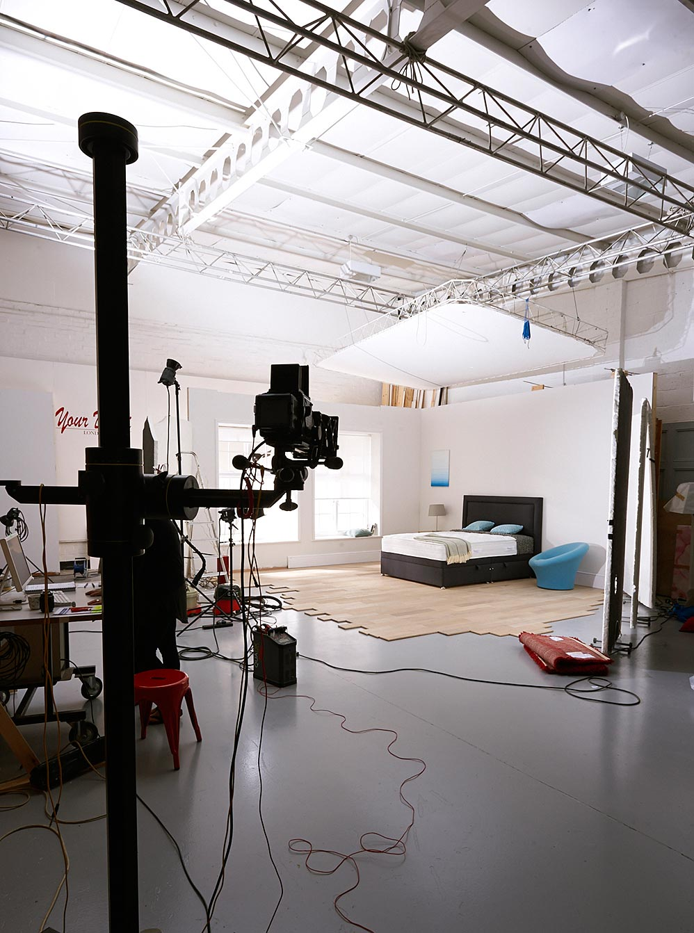 Roomset being built and photographed in Basement's Studio A
